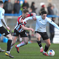 TELFORD COPYRIGHT MIKE SHERIDAN Adam Walker of Telford holds off Jake Moult of Altrincham during the Vanarama Conference North fixture between AFC Telford United and Altrincham at The New Bucks Head on Saturday, February 1, 2020.<br /> <br /> Picture credit: Mike Sheridan/Ultrapress<br /> <br /> MS201920-044