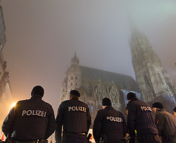 03.02.2017, Innere Stadt, Wien, AUT, Demonstration gegen den Wiener Akademikerball des Wiener Kooperationsrings, im Bild Polizisten vor dem Stephansdom // police officers in front of the st. stephens cathedral during Protest against WKR- Ball, Inner City, Vienna, Austria on 2015/02/03, EXPA Pictures © 2017, PhotoCredit: EXPA/ Michael Gruber