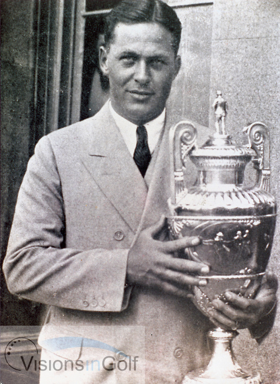 Bobby Jones with the 1930 amateur championship trophy<br /> Picture Credit: &copy;Visions In Golf / Michael Hobbs