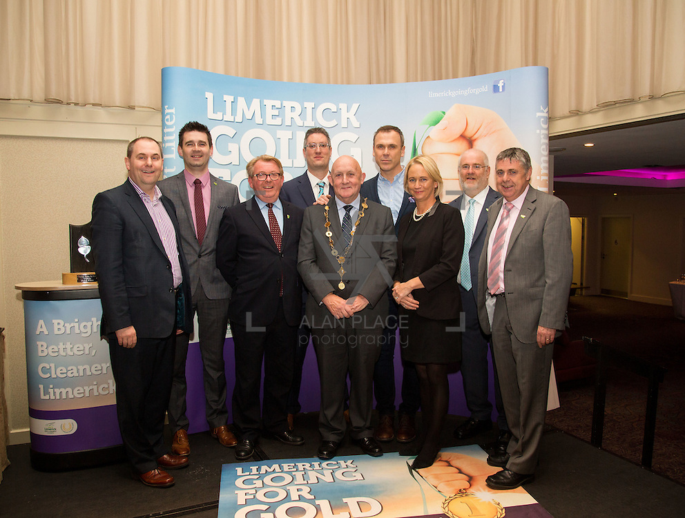 11.10.2016         <br /> The West of Limerick is awake and celebrating after Glin was announced as overall winner of Limerick Going for Gold 2016.<br /> Pictured are Going For Gold sponsors, left to right, Joe Nash, Live 95FM, Joe Cleary, Mr. Binman, Dave O'Hora, Southern Marketing Media Design, David Hurley, Limerick Leader, Mayor, Cllr. Kieran O'Hanlon, Richard Lynch, ILove Limerick, Geraldine O'Regan, Live 95FM, Roger Beck, Parkway Shopping Centre and Feral Deegan, Live 95 FM. Picture: Alan Place