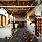 """February 27, 2013 - New York, NY : American chef and restaurateur Andrew Carmellini plans to open """"Lafayette,"""" an expansive French restaurant and bakery, at 380 Lafayette Street in NoHo, in April. Pictured here, the under-construction space. CREDIT: Karsten Moran for The New York Times"""