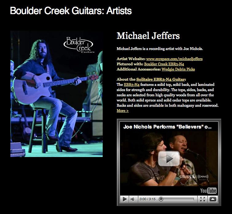 Michael Jeffers photo on Boulder Creek Guitars website