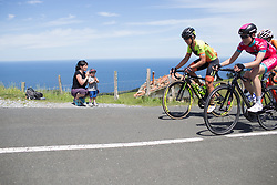 Spectators cheer for the riders near the top of the hardest climb of Stage 5 of the Emakumeen Bira - a 95.2 km road race, starting and finishing in Errenteria on May 21, 2017, in Basque Country, Spain. (Photo by Balint Hamvas/Velofocus)