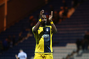 Moussa Dembele celebrates a Fulham 2-1 away victory during the Sky Bet Championship match between Preston North End and Fulham at Deepdale, Preston, England on 5 April 2016. Photo by Pete Burns.