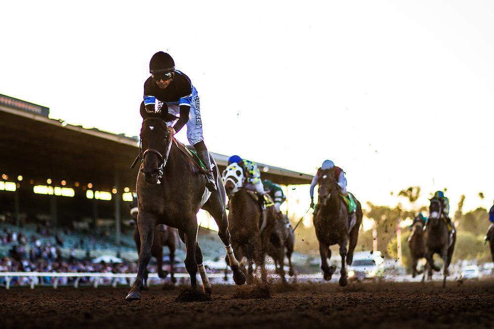 March 07 2015: Shared Belief  with jockey Mike Smith up wins The GI Santa Anita Handicap at Santa Anita Park in Arcadia CA. Alex Evers/ESW/CSM