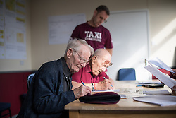 © Licensed to London News Pictures. 25/08/2016. <br /> <br /> Pictured: D-Day veterans Fred Glover (left) and Ted Pieri (right), register for their parachute jump.<br /> <br /> Fred Glover and Ted Pieri, two D-Day veterans who are both 90 years old have parachuted into Sarum Airfield, Wiltshire on Thursday 25th August 2016, 72 years after D-Day having earlier in the month parachuted into Merville Battery in France.<br /> <br /> <br /> Photo credit should read Max Bryan/LNP