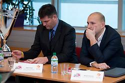 Ales Puhar of KK Sencur and Matej Avanzo of KK Sixt Primorska at press conference before Finals of Spar Cup 2018, on January 31, 2018 in Ljubljana, Slovenia. Photo by Urban Urbanc / Sportida
