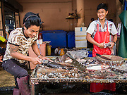28 FEBRUARY 2014 - MAE SOT, TAK, THAILAND: Workers scale and butcher fish in the market in Mae Sot. Mae Sot is on the Thai-Myanmar border. The market is a mix of Thai and Burmese businesses.    PHOTO BY JACK KURTZ