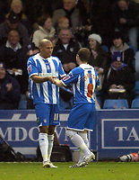 Photo: Olly Greenwood.<br />Colchester United v Leicester City. Coca Cola Championship. 13/01/2007. Colchester's Chris Iwelumo celebrates scoring with Jamie Cureton