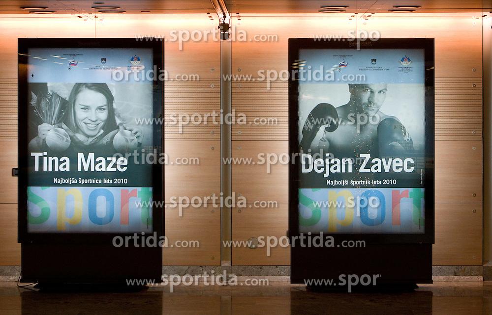 Tina Maze and Dejan Zavec at Slovenian Sportsman of the year and Slovenian Sportswoman of the year 2010 annual awards presented on the base of Slovenian sports reporters, on December 22, 2010 in Cankarjev dom, Ljubljana, Slovenia. (Photo By Vid Ponikvar / Sportida.com)