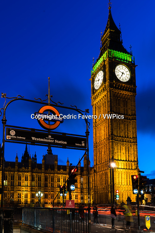 Clock Tower and Westminster station entrance, London