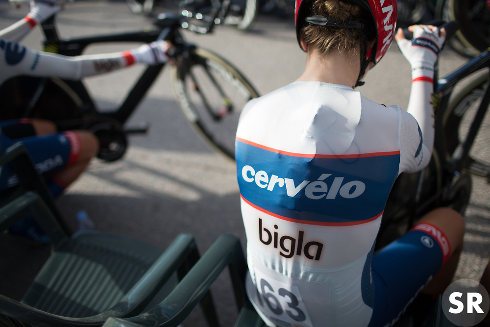 Cecilie Uttrup Ludwig (DEN) of Cervélo-Bigla Cycling Team waits to start the Crescent Vargarda - a 42.5 km team time trial, starting and finishing in Vargarda on August 11, 2017, in Vastra Gotaland, Sweden. (Photo by Balint Hamvas/Velofocus.com)