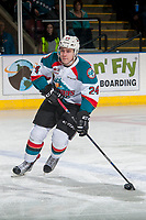 KELOWNA, CANADA - MARCH 11: Kyle Topping #24 of the Kelowna Rockets skates with the puck against the Victoria Royals on March 11, 2017 at Prospera Place in Kelowna, British Columbia, Canada.  (Photo by Marissa Baecker/Shoot the Breeze)  *** Local Caption ***