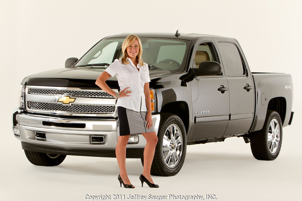 ROYAL OAK, MICHIGAN - OCTOBER 12: Kim Brink, former General Director Advertising and Sales Promotion at Chevrolet, poses with a Chevy Silverado pickup truck in Royal Oak, MI, Wednesday, October 12, 2011. Brink is currently Managing Director, Brand, Consumer and Series Marketing at NASCAR. (Jeffrey Sauger)
