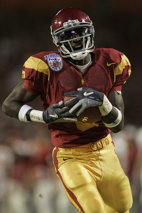 University of Southern California wide receiver Dwayne Jarrett catches a pass for a touchdown during USC's 55-19 victory over Oklahoma on January 4, 2005 in the FedEx Orange Bowl at Pro Player Stadium in Miami, Florida.