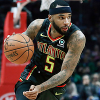 08 January 2018: Atlanta Hawks guard Malcolm Delaney (5) drives during the LA Clippers 108-107 victory over the Atlanta Hawks, at the Staples Center, Los Angeles, California, USA.