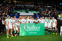 The England team pose for a photo after the match - Mandatory byline: Patrick Khachfe/JMP - 07966 386802 - 03/11/2018 - RUGBY UNION - Twickenham Stadium - London, England - England v South Africa - Quilter International