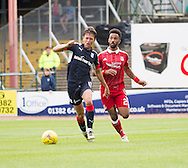 Dundee&rsquo;s Danny Williams and Aberdeen&rsquo;s Shaleum Logan - Dundee v Aberdeen in the Ladbrokes Scottish Premiership at Dens Park, Dundee. Photo: David Young<br /> <br />  - &copy; David Young - www.davidyoungphoto.co.uk - email: davidyoungphoto@gmail.com