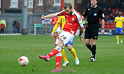 Jamie Ness with a chance during the Sky Bet League 1 match between Crewe Alexandra and Crawley Town at Alexandra Stadium, Crewe, England on 3 April 2015. Photo by Michael Hulf.