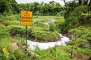 Toxic wastes illegally dumped into the Cihaur River which feeds directly to Citarum River.  Companies that are suspected for this illegal dump are PT. Oriental and PT. SMM.  Cipeundeuy Village, Kecamatan Padalarang. ..Credit: Andri Tambunan for Greenpeace