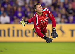 April 21, 2018 - Orlando, FL, U.S. - ORLANDO, FL - APRIL 21: Orlando City goalkeeper Joseph Bendik (1) dives to save a shot on goal during the MLS soccer match between the Orlando City FC and the San Jose Earthquakes at Orlando City SC on April 21, 2018 at Orlando City Stadium in Orlando, FL. (Photo by Andrew Bershaw/Icon Sportswire) (Credit Image: © Andrew Bershaw/Icon SMI via ZUMA Press)