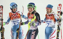 21.02.2014, Rosa Khutor Alpine Center, Krasnaya Polyana, RUS, Sochi, 2014, Slalom, Damen, 2. Durchgang, im Bild v l n r Silbermedaillen Gewinnerin Marlies Schild (AUT), Olympiasiegerin Mikaela Shiffrin (USA), Bronzemedaillen Gewinnerin Kathrin Zettel (AUT) // f l t r  silver Medalist Marlies Schild of Austria, olympic Champion Mikaela Shiffrin of the USA, bronze Medalist Kathrin Zettel of Austria during the 2nd run of ladies Slalom to the Olympic Winter Games Sochi 2014 at the Rosa Khutor Alpine Resort, Krasnaya Polyana, Russia on 2014/02/21. EXPA Pictures © 2014, PhotoCredit: EXPA/ Sammy Minkoff<br /> <br /> *****ATTENTION - OUT of GER*****