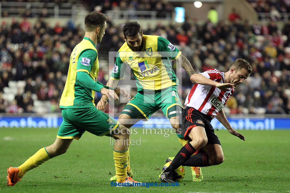 Picture by Paul Chesterton/Focus Images Ltd +44 7904 640267<br /> 21/12/2013<br /> Bradley Johnson of Norwich and Sunderland's Lee Cattermole in action during the Barclays Premier League match at the Stadium Of Light, Sunderland.