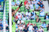 MELBOURNE, VICTORIA - JANUARY 06: Newcastle Jets goalkeeper Lewis Italiano (20) gestures at the Hyundai A-League Round 11 soccer match between Melbourne City FC and Newcastle Jets on at AAMI Park in NSW, Australia 06 January 2019. (Photo by Speed Media/Icon Sportswire)