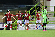 Bristol City celebrate their equaliser during the The County Cup match between Forest Green Rovers and Bristol City at the New Lawn, Forest Green, United Kingdom on 23 November 2015. Photo by Shane Healey.