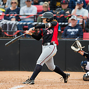 12 May 2018: San Diego State shortstop Shelby Thompson seen here during an at bat in the sixth inning. San Diego State women's softball closed out the season against Utah State with a 4-3 win on seniors day and sweep the series. <br /> More game action at sdsuaztecphotos.com