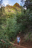 Hiker on Kalalau Trail, Na Pali Coast, Kauai, Hawaii, MR, © 2010 David A. Ponton