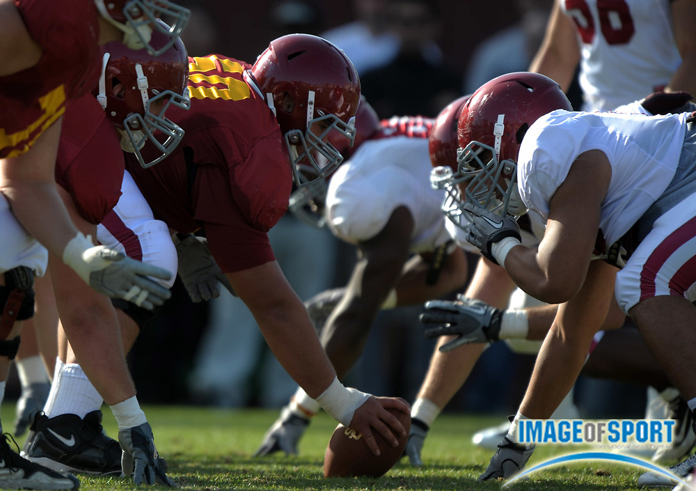 Apr 5, 2012; Los Angeles, CA, USA; General view of the line of scrimmage as Southern California Trojans center Khaled Holmes (78) snaps the ball at spring practice at Howard Jones Field.