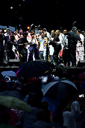 The O'Jays lead a The Sound of Philadelphia (TSOP) jam in tribute to Gamble & Huff, as other acts join on stage during the July 4th, 2016 Wawa Welcome America concert, on the Benjamin Franklin Parkway, in Center City, Philadelphia, Pennsylvania.