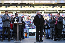 Feb 7, 2012; East Rutherford, NJ, USA; New York Giants head coach Tom Coughlin speaks to the crowd during the New York Giants Super Bowl XLVI Rally at MetLife Stadium.