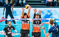 17.04.2019, Olympiahalle Innsbruck, Innsbruck, AUT, VBL, Deutsche Volleyball Bundesliga, HYPO Tirol Alpenvolleys Haching vs Berlin Recycling Volleys, Halbfinale, 3. Spiel, im Bild v.l.: Georg Klein (Berlin), Egor Bogachev (Berlin), Kirill Klets (Tirol) // during the German Volleyball Bundesliga (VBL) 3rd semifinal match between HYPO Tirol Alpenvolleys Haching and Berlin Recycling Volleys at the Olympiahalle Innsbruck in Innsbruck, Austria on 2019/04/17. EXPA Pictures © 2019, PhotoCredit: EXPA/ JFK