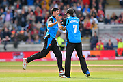 Wicket - Pat Brown of Worchestershire celebrates taking the wicket of Matt Parkinson of Lancashire during the Vitality T20 Finals Day Semi Final 2018 match between Worcestershire Rapids and Lancashire Lightning at Edgbaston, Birmingham, United Kingdom on 15 September 2018.
