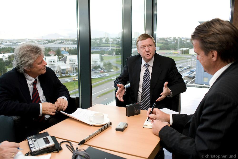 Der Spiegel interviews russian industrial Anatolij Tschubais at Hotel Nordica, Reykjavik Iceland. Mr. Schepp and Mr. Preuss from Der Spiegel.