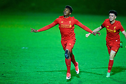 KIRKBY, ENGLAND - Friday, March 31, 2017: Liverpool's Okera Simmonds celebrates scoring the first goal against West Ham United during an Under-18 FA Premier League Merit Group A match at the Kirkby Academy. (Pic by David Rawcliffe/Propaganda)