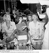 Nan Kempner, Jane Wrightsman, Susan Gutfreund. Chanel couture  fashion show. Paris. <br />July 1991. Film 91871f30<br />© Copyright Photograph by Dafydd Jones<br />66 Stockwell Park Rd. London SW9 0DA Tel 0171 733 0108
