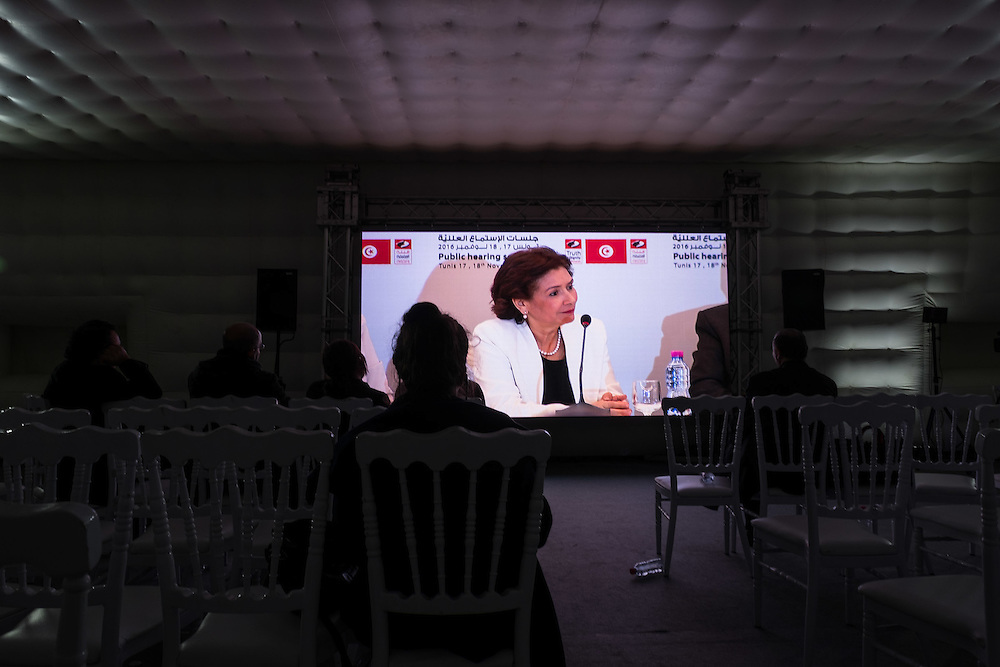 Auditions publiques de l'Instance Vérité Dignité, 18 novembre 2016. Sihem Ben Sedrine, président de l'IVD.