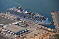 Cruise Ship Carnival Pride aerial photo at the Maryland Cruise Terminal at the Port of Baltimore on its Inaugural Sail
