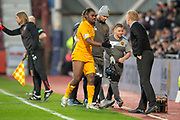 Dolly Menga (#45) of Livingston FC leaves the field after being injured during the 4th round of the William Hill Scottish Cup match between Heart of Midlothian and Livingston at Tynecastle Stadium, Edinburgh, Scotland on 20 January 2019.