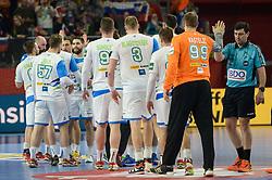 Slovenian players celebrates after handball match between National teams of Slovenia and Spain on Day 6 in Main Round of Men's EHF EURO 2018, on January 23, 2018 in Arena Varazdin, Varazdin, Croatia. Photo by Mario Horvat / Sportida