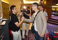 Switzerland's U21 soccer player Mario GAVRANOVIC (L) welcomes Nassim BEN KHALIFA at the Renaissance hotel in Zurich, Switzerland, Tuesday, June 7, 2011. The Swiss team attends the UEFA Under-21 (U21) Championship tournament in Denmark. (Photo by Patrick B. Kraemer / MAGICPBK)