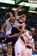 Nov 2, 2016; Phoenix, AZ, USA; Phoenix Suns center Alex Len (21) is hit in the face by Portland Trail Blazers forward Meyers Leonard (11) during the first half at Talking Stick Resort Arena. Mandatory Credit: Jennifer Stewart-USA TODAY Sports