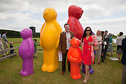 MAURO PERUCHETTI; LORENA PERUCHETTI;  Jelly Baby family by Mauro Peruchetti  The Dalwhinnie Crook  charity Polo match  at Longdole  Polo Club, Birdlip  hosted by the Halcyon Gallery. . 12 June 2010. -DO NOT ARCHIVE-© Copyright Photograph by Dafydd Jones. 248 Clapham Rd. London SW9 0PZ. Tel 0207 820 0771. www.dafjones.com.