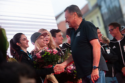Major of Ljubljana Zoran Jankovic and Mia Krampl during PZS reception of Slovenian national climbing team after IFSC Climbing World Championships in Hachioji (JPN) 2019, on August 23, 2019 at Ministry of Education, Science and Sport, Ljubljana, Slovenia. Photo by Grega Valancic / Sportida
