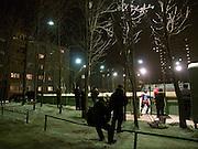 Plattenbau mit Eishockey Arena in einem Vorort der sibirischen Hauptstadt Nowosibirsk.<br /> <br /> Panel houses with an Ice hockey rink in a suburb of the Sibirian capital Novosibirsk.
