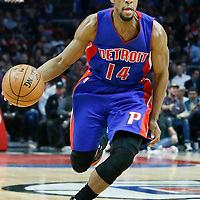 07 November 2016: Detroit Pistons guard Ish Smith (14) drives during the LA Clippers 114-82 victory over the Detroit Pistons, at the Staples Center, Los Angeles, California, USA.