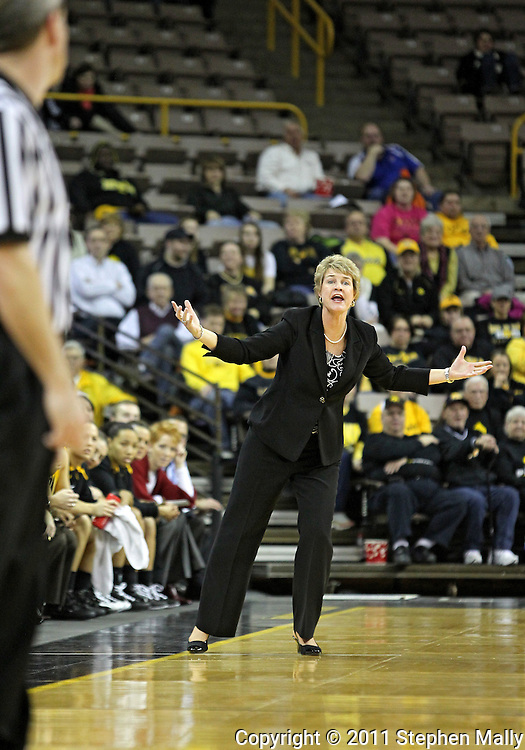 January 27 2010: Iowa head coach Lisa Bluder yells at the officals during the first half of an NCAA women's college basketball game at Carver-Hawkeye Arena in Iowa City, Iowa on January 27, 2010. Iowa defeated Michigan State 66-64.